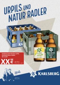 Handelsanzeige UrPils + Natur Radler Kiste Stubbi A4 hoch