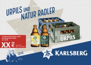 Handelsanzeige UrPils + Natur Radler Kiste Stubbi A4 quer